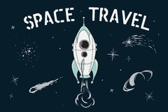 Space travel of rocket. Scientific vector illustration.Space travel of rocket in deep cosmos. Childish cartoon style stock illustration