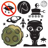 Space travel signs or symbols set Royalty Free Stock Photos