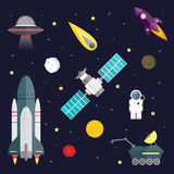 Space travel symbols infographic. Cosmos vector Stock Images