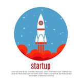 Space travel vector background with rocket, startup new business project concept Royalty Free Stock Photos