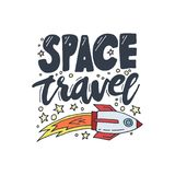 Space travel vector illustration. Cosmos discovery and exploration poster. Doodle style, cartoon design. Cute background. For banner, book cover. Galaxy Stock Images