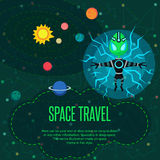 Space travel. Vector illustration in style flat Stock Photography