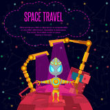 Space travel. Vector illustration in style flat Stock Photo