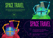 Space travel. Vector illustration in style flat Stock Photos