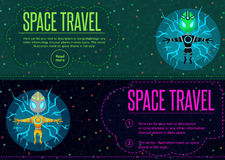 Space travel. Vector illustration in style flat Royalty Free Stock Photo