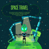 Space travel. Vector illustration in style flat Stock Images