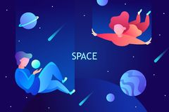 Space travel, virtual reality, imagination. modern technologies vector illustration