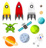 Space travelling elements vector royalty free illustration