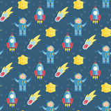 Space Travels Seamless Pattern Vector Cartoon Royalty Free Stock Photo