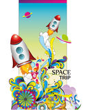 Space trip  illustration. Over a color background Stock Photography