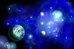 Space with two planets Stock Photo