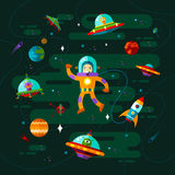 Space, ufo and astronaut. Royalty Free Stock Photo