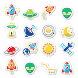 Space and UFO  icons set Royalty Free Stock Photography