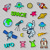 Space, UFO, Robots and Aliens Badges, Patches and Stickers Stock Photo