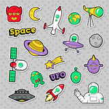 Space, UFO, Robots and Funny Aliens Badges, Stickers and Patches Stock Photography