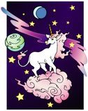 Space Unicorn. Variant.  Unicorn traveling through fantasy space Royalty Free Stock Image