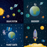 Space Universe Colored Icon Set Stock Photography