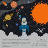 Space, universe graphic design. Infographic template Stock Photos
