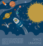 Space, universe graphic design. Infographic template Stock Image