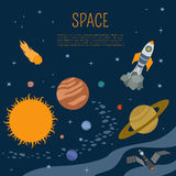 Space, universe graphic design. Infographic template Royalty Free Stock Photo