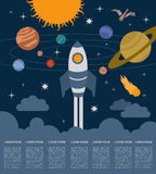 Space, universe graphic design. Infographic template.  Royalty Free Stock Photography