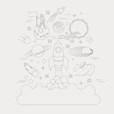 Space, universe graphic design. Linear icon set Royalty Free Stock Images