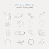 Space, universe graphic design. Linear icon set Royalty Free Stock Photo