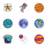 Space universe icon set, hand drawn style vector illustration