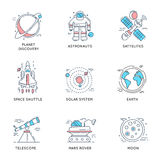 Space Universe Linear Icons Stock Photo