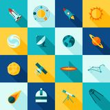Space Universe Long Shadows Icon Set Stock Images