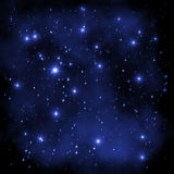 Space Universe stars. Abstract decorative cosmic universe / space / cosnos illustration: blue stars of different sizes on a dark blue and black nebula background stock illustration
