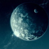 Space is Vast. A huge and small planet in an epic outer space scene Royalty Free Stock Photo