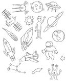 Space vector drawing set Royalty Free Stock Photo