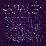 Space vector font. Space stars isolated vector font Royalty Free Stock Images