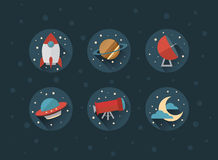 Space vector icons with shadows Royalty Free Stock Images