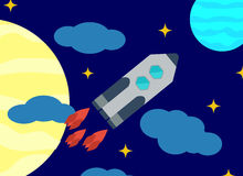 Space vector image or background. Launch missiles against the background of the sky and celestial bodies. Flat design. Royalty Free Stock Photo