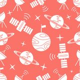 Space vector seamless pattern Astronomy Science. Seamless vector pattern with planets and Saturn and stars and orbital station, radar. Space exploration stock illustration
