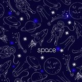 Space vector seamless pattern Royalty Free Stock Image