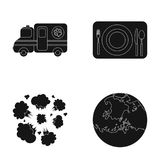 Space, veterinary and or web icon in black style.war, service icons in set collection. Royalty Free Stock Images