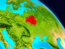 Belarus on Earth. Space view of Belarus highlighted in red on planet Earth. 3D illustration. Elements of this image furnished by NASA Royalty Free Stock Photography