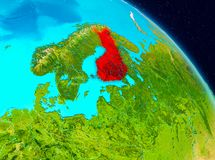 Finland on Earth. Space view of Finland highlighted in red on planet Earth. 3D illustration. Elements of this image furnished by NASA Stock Photos