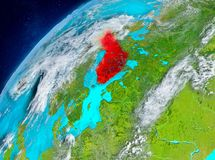 Space view of Finland in red. Country of Finland in red on planet Earth with atmosphere. 3D illustration. Elements of this image furnished by NASA Stock Images