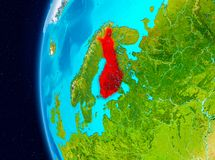 Space view of Finland in red. Illustration of Finland as seen from Earth's orbit on planet Earth. 3D illustration. Elements of this image furnished by NASA Stock Photos