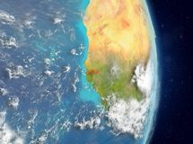 Orbit view of Gambia in red stock image