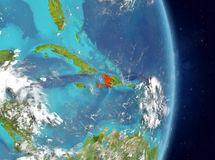 Orbit view of Haiti in red royalty free stock photo