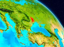 Moldova on Earth. Space view of Moldova highlighted in red on planet Earth. 3D illustration. Elements of this image furnished by NASA Royalty Free Stock Photography