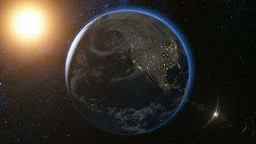 Space view on Planet Earth and Sun in Universe stock illustration