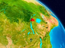 Rwanda on Earth. Space view of Rwanda highlighted in red on planet Earth. 3D illustration. Elements of this image furnished by NASA Stock Photo