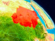 Sudan on Earth. Space view of Sudan highlighted in red on planet Earth. 3D illustration. Elements of this image furnished by NASA Stock Image