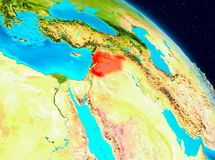 Syria on Earth. Space view of Syria highlighted in red on planet Earth. 3D illustration. Elements of this image furnished by NASA Stock Photo